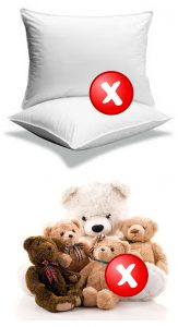 Baby Cribs Safety Standards - do not use pillows and plush toys in the crib
