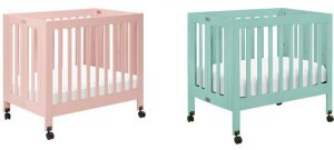 Best Mini Cribs For Small Spaces - Babyletto Origami Mini Crib in petal pink and lagoon blue