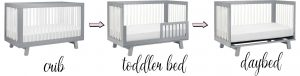 Hudson crib by Babyletto with toddler guardrail & daybed