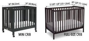Best Mini Cribs For Small Spaces - mini vs. full-size crib dimensions