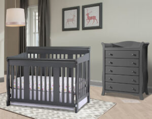 Stork Craft Tuscany 4-in-1 Convertible Crib Review_2 piece nursery set: crib and Avalon 5-drawer dresser in gray