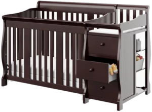 What is a convertible baby crib with changing table?