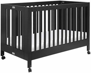 Best Full Size Portable Folding Baby Cribs On Wheels - Babyletto Maki black