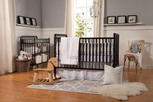 Wooden portable baby cribs on wheels