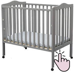 Delta Children folding mini crib on wheels