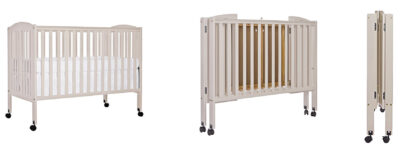 Wooden portable baby cribs on wheels - Dream On Me full-size folding crib