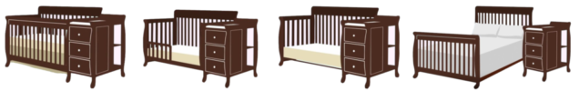 Standard size baby crib | combo crib with changer