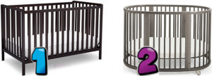 Different types of baby cribs - different shapes