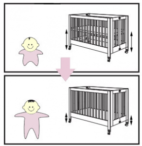 Best Full Size Portable Folding Baby Cribs On Wheels - Babyletto Maki mattress positions