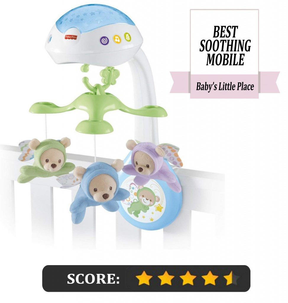 Fisher-Price baby crib mobile with remote and light projector