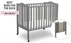 Best rated portable cribs: Delta Children Folding Portable Mini Baby Crib with Mattress