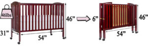Dream On Me full-size portable crib's measurements and weight