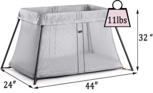 Baby Bjorn travel crib light review measurements and weight