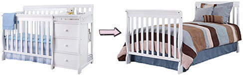 What is a 2-in-1 convertible crib with an attached changing table?