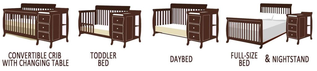 What is a convertible baby crib with changing table - its conversions