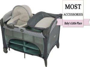 Travel crib with the most accessories: Graco Pack 'n Play Newborn Seat DLX Playard