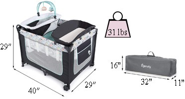 Best travel cribs: Ingenuity Smart and Simple Packable Portable Playard with Changing Table