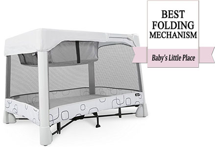 Travel crib with the best folding mechanism: 4moms Breeze Playard