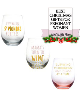 The Best Christmas Gifts for pregnant women in 2020 - Funny Wine Glass for a new mom