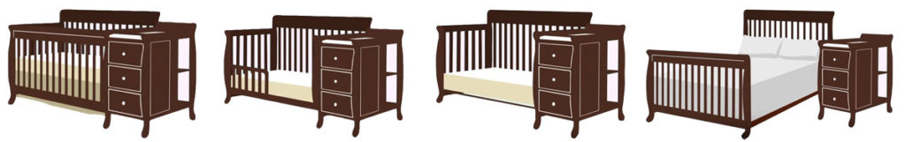 Full-size convertible crib with changing table