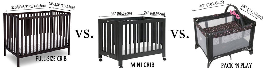 Mini crib vs. Pack 'n Play vs. Standard crib - Differences in size