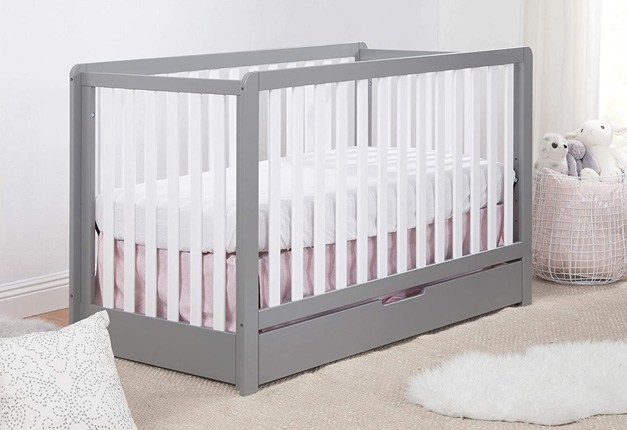 Carter's by Davinci Colby 4-in-1 Convertible Crib with Trundle Drawer in Grey and White