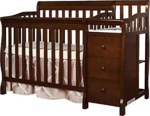 Dream On Me Jayden, a safe mini convertible crib with a changing table