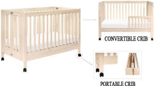 Babyletto Maki Full-Size Portable Folding Crib with Toddler Bed Conversion Kit