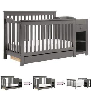 Different Types of Baby Cribs: 4-in-1 convertible crib with changer