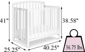 DaVinci Dylan Folding Portable 3-in-1 Mini Crib's Size