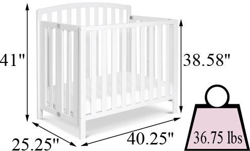 DaVinci Dylan Folding Portable 3-in-1 Mini Crib's Size